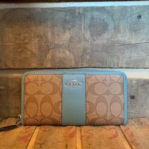 Brand New Coach Blue + Signature Zip Around Wallet